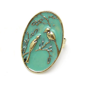 Adjustable bird ring turquoise