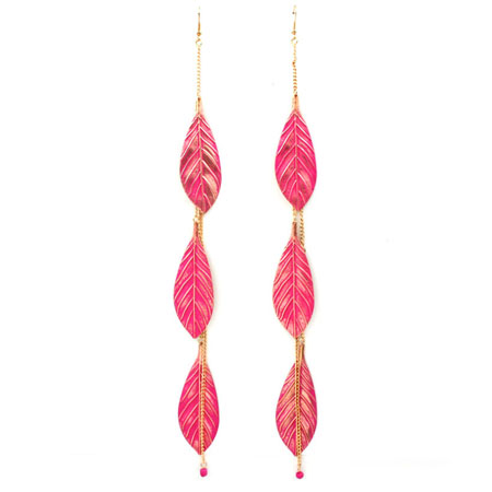Earrings leaves pink
