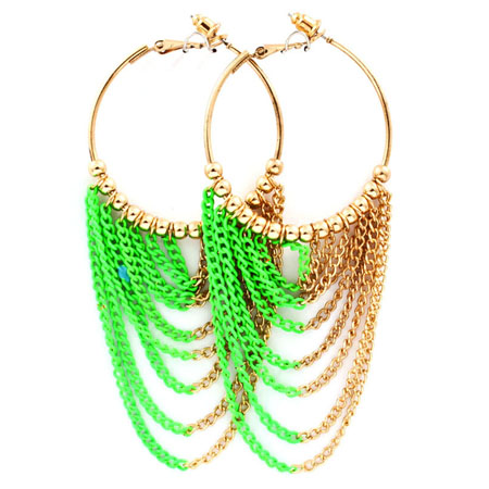 Earring chains neon green