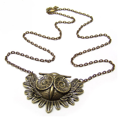 Necklace Bronze owl